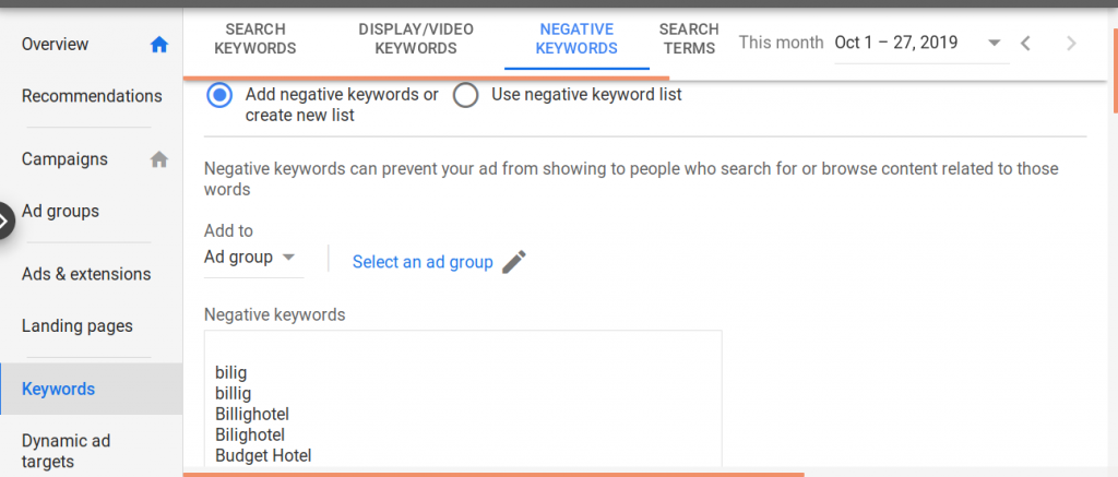 Adwords Optimierung - negative Keywords