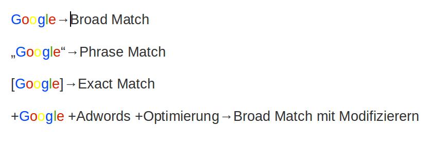 Adwords Optimierung - Matchtypen